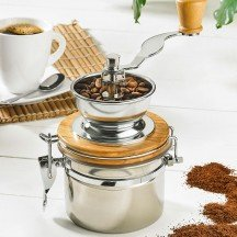 Coffee Grinder of Stainless Steel and Wood