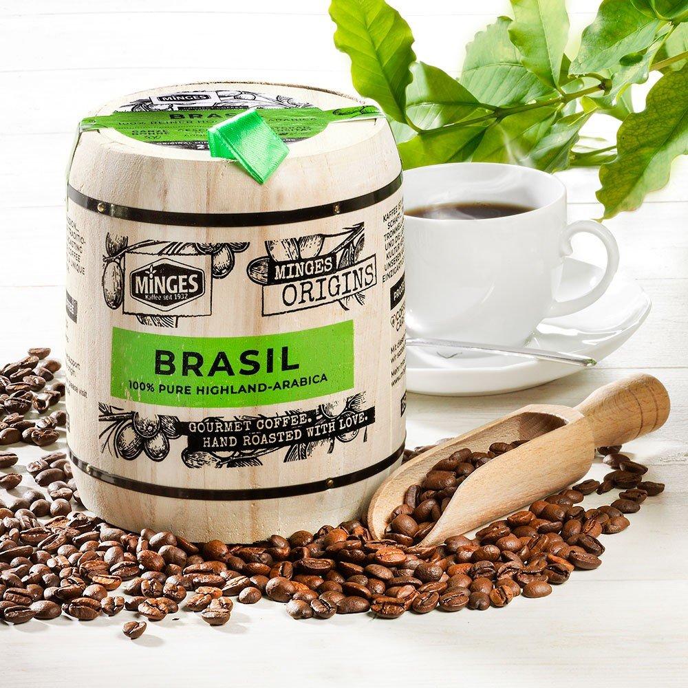 Minges Kaffee Brasil Hochland im Holzfass, ganze Bohne