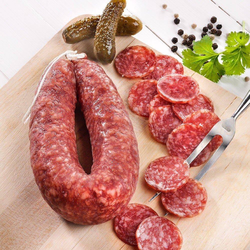 Luftgetrocknete Mettwurst vom Bunten Bentheimer Schwein Bio, im Ring