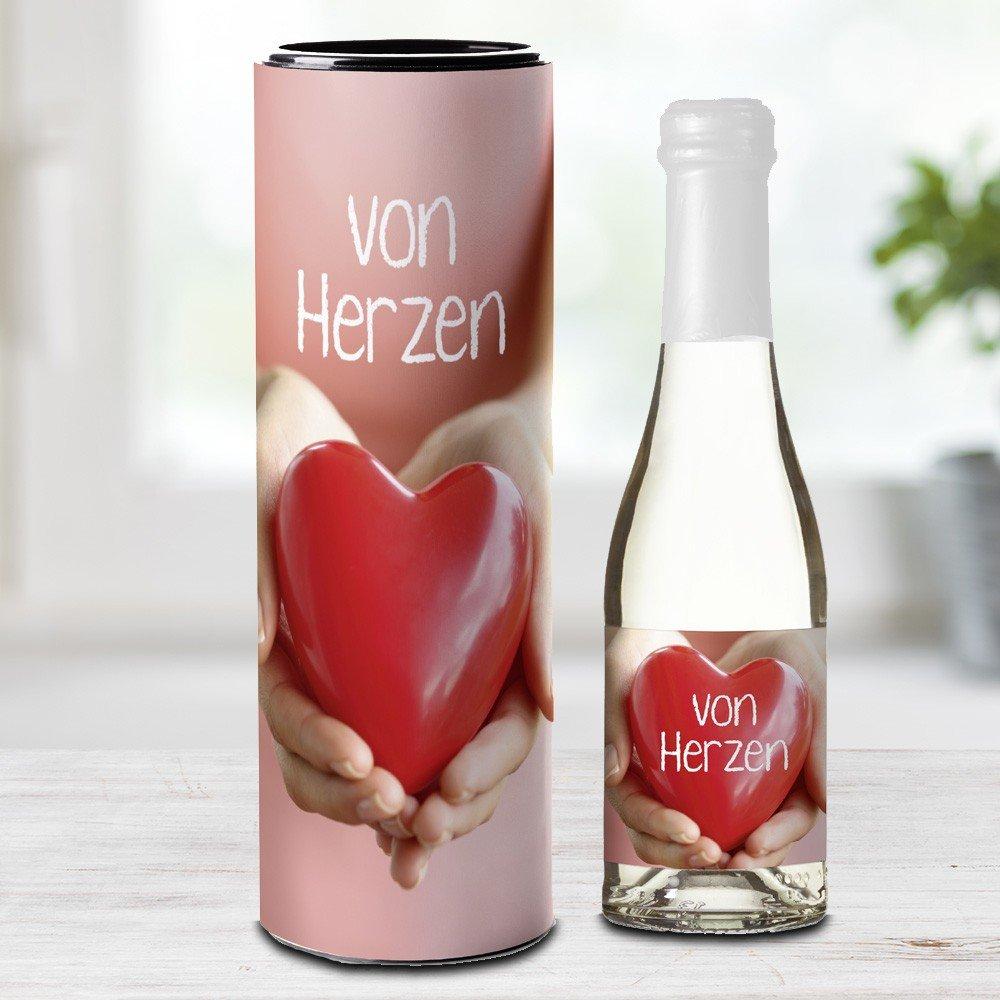 Piccolo-Sektflasche 'Von Herzen'