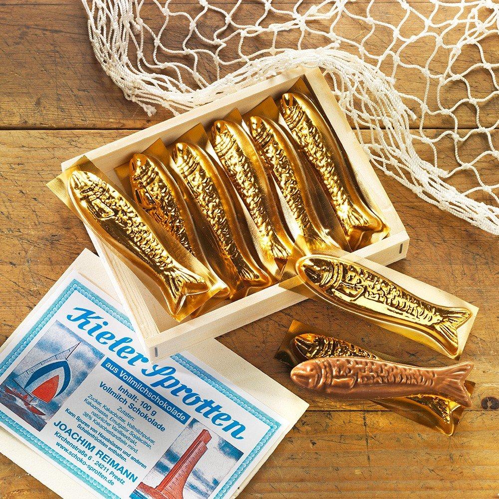 Schokolade Kieler Sprotten in Holzkiste