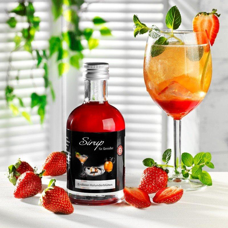 Sirup Erdbeer Holunderblüten