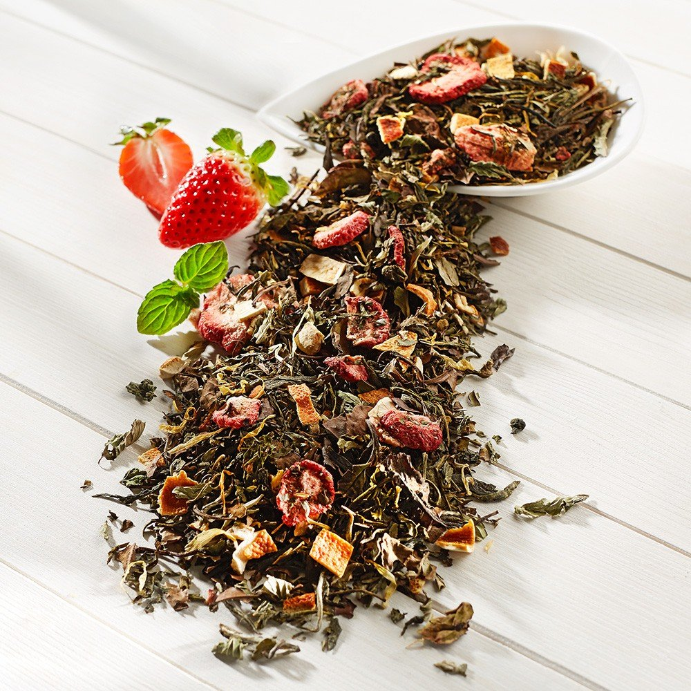 Weißer Tee Erdbeer-Minze