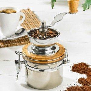 Kaffeemühle aus Edelstahl und Holz