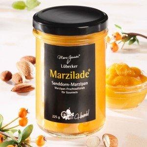 Lübecker Marzilade® Fruchtaufstrich Sanddorn-Marzipan
